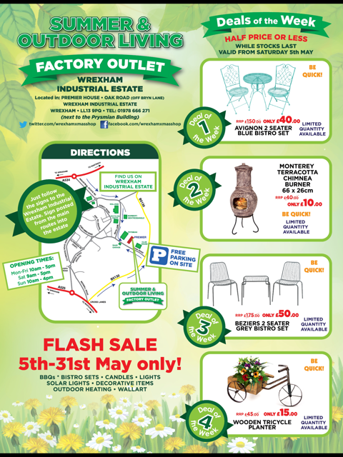 Summer & Outdoor Living  – Factory outlet – Flash Sale